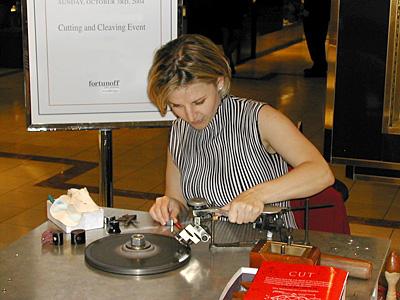 Diamond Jen hard at work polishing a Diamond.